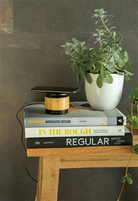Bambus Wireless Charger und Lautsprecher